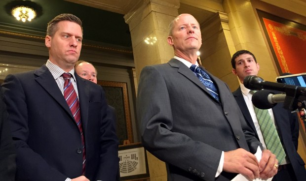 House Speaker Kurt Daudt, left, and Senate Majority Leader Paul Gazelka address reporters on Tuesday, May 9, 2017, about a breakdown in negotiations over the Minnesota budget. (Rachel E. Stassen-Berger / Pioneer Press)