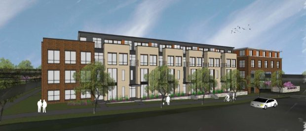 Undated courtesy image, circa May 2017, of a proposed apartment and commercial development to be built on St. Paul's West Side. A developer plans to construct 640 to 830 apartments near the Mississippi River west of Robert Street in St. Paul's West Side. Hunt Development plans multiple phases of construction on a mostly-vacant 13.4-acre site between Fillmore Avenue and Plato Boulevard, including 30,000 to 80,000 square feet of commercial space. (Courtesy of Fillmore Avenue Apartments LLC)