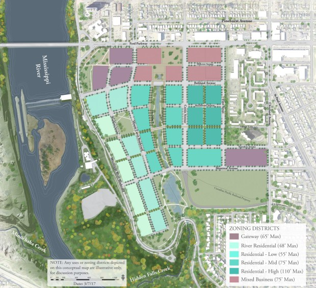 A draft plan for the former Ford Motor Co. campus in Highland Park calls for the 135 acres to be split into six zoning districts.  (Courtesy of city of St. Paul and Goff Public)