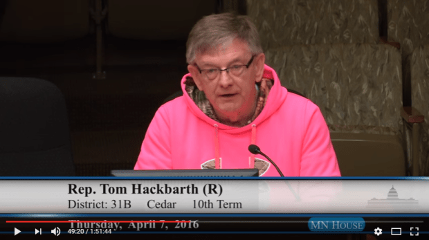 Then-Minnesota Rep. Tom Hackbarth, R-Cedar, wore a blaze pink hoodie to an April 7, 2016, committee meeting that featured a debate on allowing hunters to wear blaze pink instead of blaze orange. The idea failed in 2016 but passed and was awaiting Gov. Mark Dayton's signature in May 2017. (Courtesy MN House video)