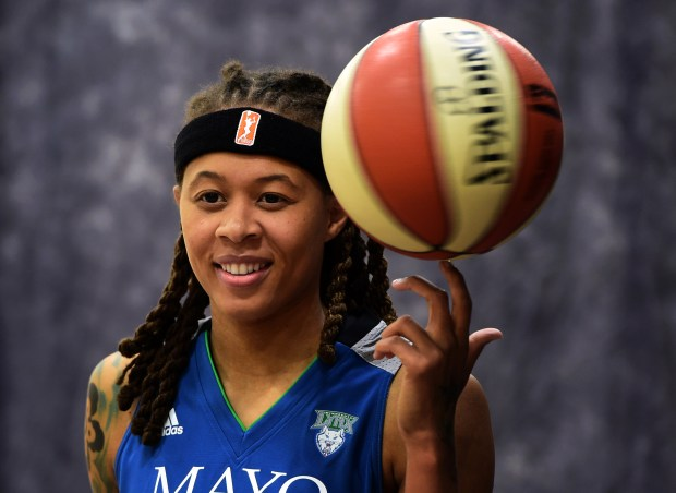 Seimone Augustus poses for a photo during the Minnesota Lynx's annual media day in Minneapolis on Monday, May 1, 2017. (Scott Takushi / Pioneer Press)