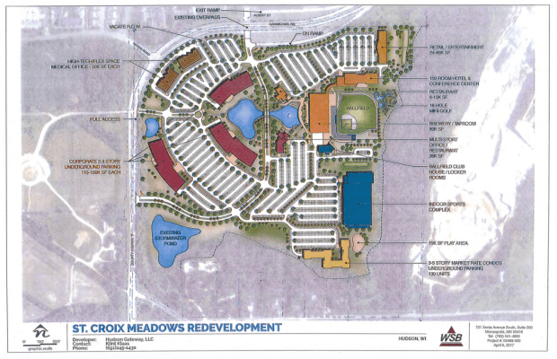 Plans to redevelop the St. Croix Meadows Greyhound Racing Park. (Courtesy of city of Hudson, Wis.)