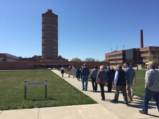 A tour group makes its way on the SC Johnson campus to the Wright-designed Research Tower in Racine, Wis. The campus is home to two stops on the Frank Lloyd Wright Trail. (Lori Rackl/Chicago Tribune/TNS)