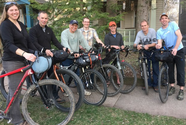 Seven Duluth-area cyclists plan to ride the Tour Divide bike race this summer, a 2,745-mile race on roads and trails between Banff, Alberta, and the Mexican border. From left are Leah Gruhn, Ron Williams, Richie Mattson, Jere Mohr, Rob Milburn, Jim Reed and Jeremy Kershaw. Of the riders, only Milburn has completed the race before. (Sam Cook / Forum News Service)