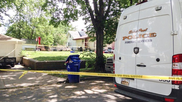 The back yard of a home in 200 block of West Maryland Avenue in St. Paul was taped off Monday, June 19, 2017, after an early morning shooting that wounded three people, including a young girl. (Mara Gottfried / Pioneer Press)