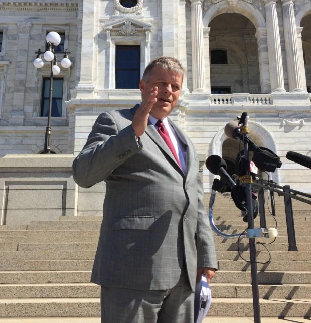 Attorney Erick Kaardal announces a lawsuit over Minnesota legislator pay in front of the state Capitol, June 5, 2017 (Rachel E. Stassen-Berger / Pioneer Press)