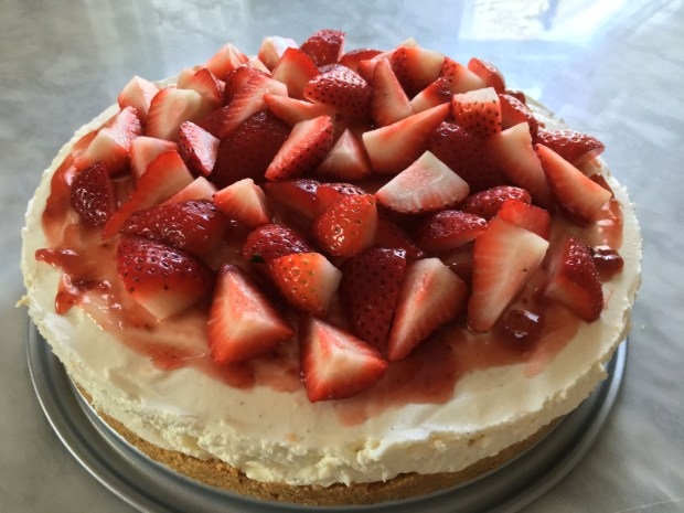 No-bake White Chocolate cheesecake with strawberries is shown in a May, 2017 photo. (Jess Fleming / Pioneer Press)