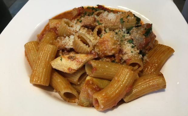 Rigatoni with Italian sausage and artichokes from 1.2.3. Pasta in Inver Grove Heights. (Pioneer Press / Jess Fleming)