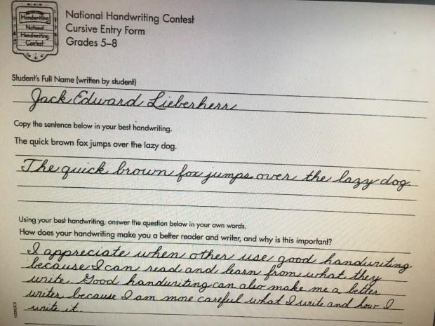 White Bear Lake eighth-grader Jack Lieberherr's award-winning entry in the 2017 Zaner-Bloser National Handwriting Contest.