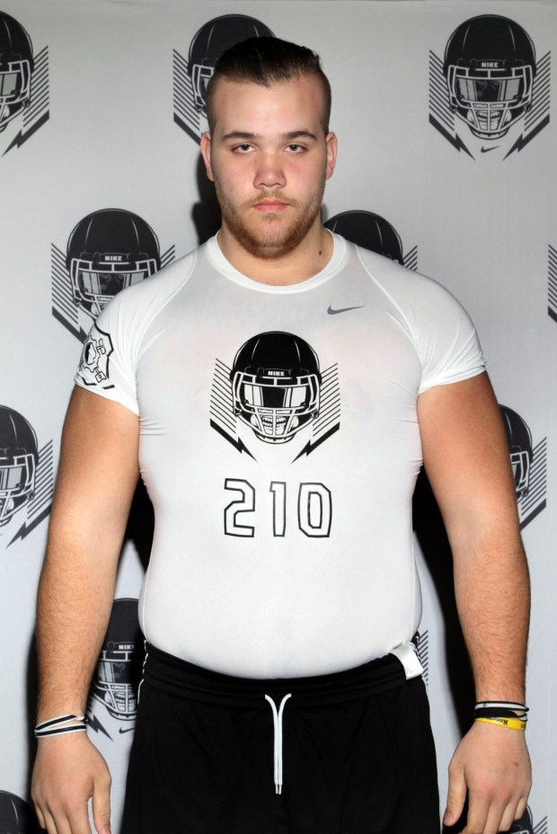 Rosemount offensive tackle Jacob Smith, a top in-state high school football recruit in Minnesota from the 2018 class, poses for a photo during the Nike Football The Opening camp in Chicago in April 2017. (Courtesy of Jacob Smith)