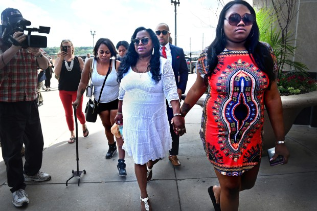 Valerie Castile, center, the mother of Philando Castile, and her daughter Allysza Castile hold hands as they leave the Ramsey County Courthouse in St. Paul Thursday, June 15, 2017. Jury deliberations continued Thursday in the trial of St. Anthony police officer Jeronimo Yanez for the July 2016 killing of Philando Castile during a traffic stop in Falcon Heights. (Jean Pieri / Pioneer Press)