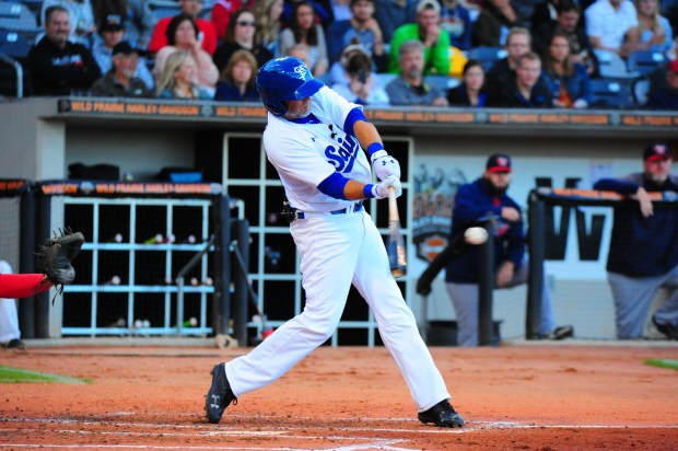 Kevin Millar takes a home-run swing at a pitch for the St. Paul Saints in his only at bat Saturday night, June 24, 2017, at CHS field in St. Paul, Minn. Millar, a former member of the World Series champion 2004 Boston Red Sox, credits a previous stint with the Saints as starting his career. (Betsy Bissen / St. Paul Saints)
