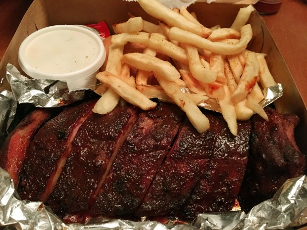 Barbecue ribs and fries from Rooster's in May of 2017. (Jess Fleming / Pioneer Press)