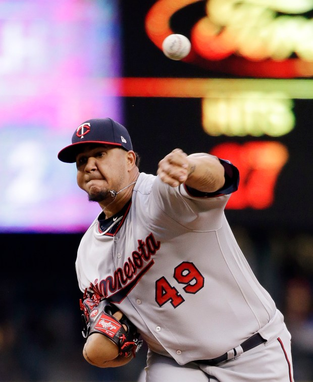Minnesota Twins starting pitcher Adalberto Mejia throws to a Seattle Mariners batter during the first inning of a baseball game Wednesday, June 7, 2017, in Seattle. (AP Photo/Elaine Thompson)
