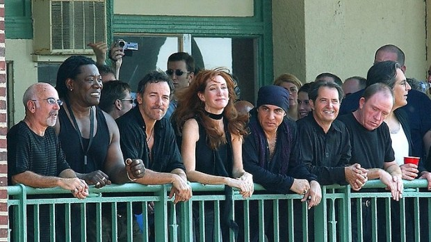Keyboardist Roy Bittan, left, of the E Street Band is 66. He's shown in a 2002 photo in Asbury Park, N.J., with others in the E Street Band: from left, Bittan, the late Clarence Clemons, Bruce Springsteen, Patti Scialfa, Steven Van Zandt, Garry Tallent, Danny Federici and Max Weinberg. (Getty Images: William Mckim)