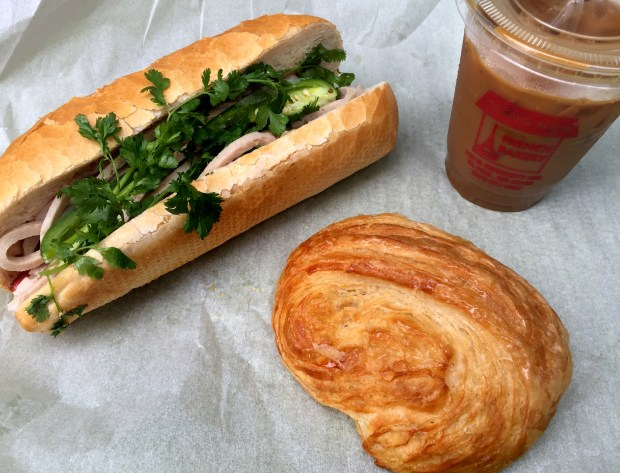 Banh mi sandwich, croissant and Vietnamese iced coffee at Trung Nam French Bakery in St. Paul, photographed July 13, 2017. (Nancy Ngo / Pioneer Press)