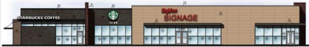 A super-sized Hy-Vee convenience store with gas pumps in Lakeville will include a Starbucks coffee shop. (Courtesy of City of Lakeville).
