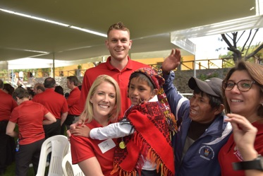 Timberwolves center and Bloomington native Cole Aldrich, back, and his wife Britt, left, helped fit 1,000 hearing aids to those in need at a Starkey Hearing Foundation mission trip in Peru in May. (Photo courtesy of Starkey Hearing Foundation)