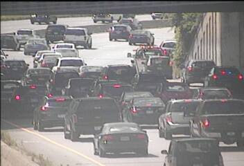 Traffic slows near the site of a two-vehicle collision on westbound Interstate 94 near Falcon Heights, Minnesota on Saturday, July 29, 2017 (Photo courtesy of MnDOT).
