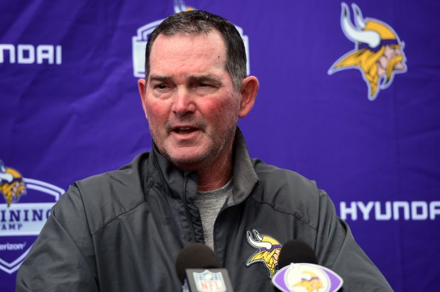 Vikings head coach Mike Zimmer speaks with the media as the Minnesota Vikings rookies arrived for training camp at Minnesota State University/Mankato, Sunday, July 23, 2017. (Scott Takushi / Pioneer Press)