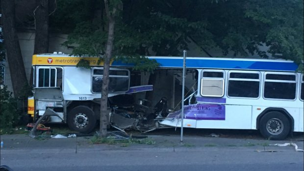 A Metro Transit bus stands with a gaping hole after a fatal collision with a vehicle near Dale Street and Charles Avenue in St. Paul on Friday night, July 21, 2017. (Courtesy of St. Paul police)