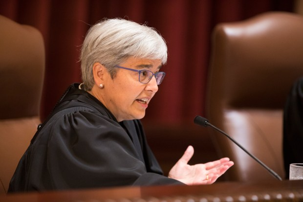 Associate Justice Margaret H. Chutich asks questions during oral arguments in The Ninetieth Minnesota State Senate, et al. vs. Mark B. Dayton, et al as the Minnesota Supreme Court meets at the State Capitol in St. Paul on Monday, Aug. 28, 2017. The Supreme Court heard oral arguments in the appeals case, a lawsuit filed by the Minnesota Legislature seeking to undo Minnesota Governor Mark Dayton's recent line-item veto of the state House and Senate's operating budgets. Legislative leaders allege Gov. Dayton's action violates the separation of powers between branches of government. (Pool photo / Leila Navidi)