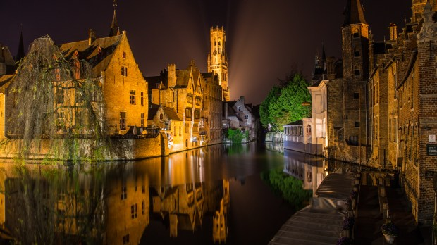 Bruges, Belgium, is seen at night May 5, 2017. The old section of the medieval city is remarkably well preserved. (Andy Rathbun / Pioneer Press)