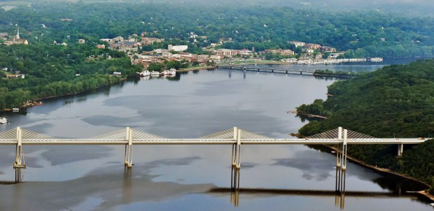 An aerial view shows the new St. Croix Crossing bridge, foreground, over the St. Croix River on Thursday, July 20, 2017. The new bridge, which connects Oak Park Heights, Minn. and St. Joseph, Wis., replaces the old Stillwater Lift Bridge, rear, which opened in 1931. A dedication ceremony to mark the opening of the new bridge will be held Wed, Aug. 2, 2017 at 10 a.m. (John Autey / Special to the Pioneer Press)
