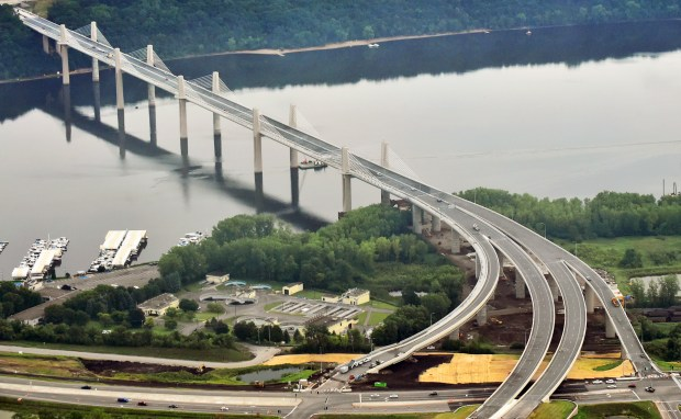 An aerial view shows the new St. Croix Crossing bridge over the St. Croix River on Thursday, July 20, 2017. The new bridge, which connects Oak Park Heights, Minn. and St. Joseph, Wis., replaces the old Stillwater Lift Bridge, which opened in 1931. A dedication ceremony to mark the opening of the new bridge will be held Wed, Aug. 2, 2017 at 10 a.m. (John Autey / Special to the Pioneer Press)