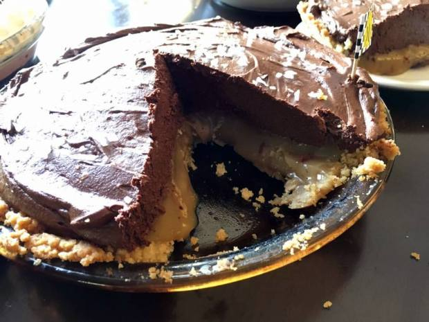 Alisha Hayes' salted caramel dark-chocolate mousse pie with Pecan Sandie shortbread crust took top honors in the 2017 Lumberjack Days pie-baking contest. (Courtesy of Joseph's Family Restaurant)