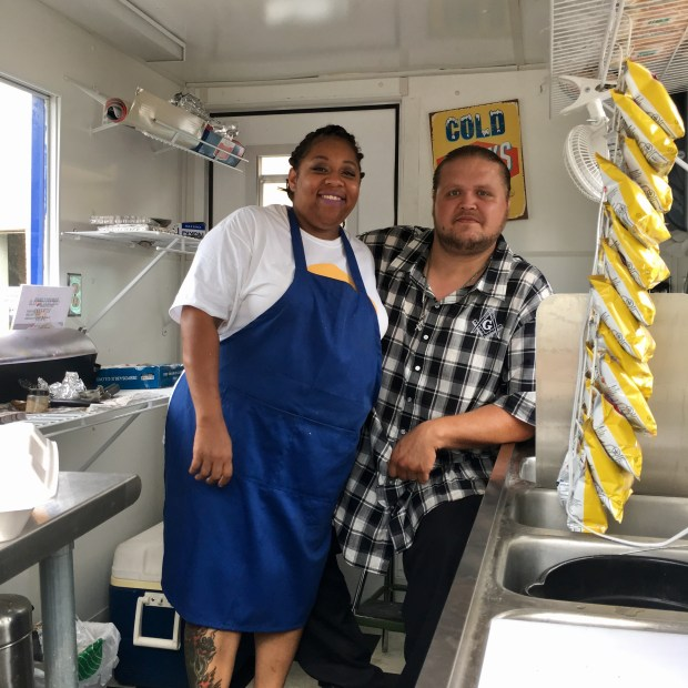 Bridging is a nonprofit which provides furniture for families transitioning out of homelessness or poverty. Erica and James Hartgraves both used Bridging several years ago. They now own a hot dog stand together. (S. M. Chavey / Pioneer Press)