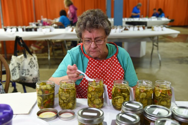 Pickle judge Rosemary Heins examines the entries in the Sweet Bread and Butter Pickles category in the Creative Activities Building at the Minnesota State Fair on Aug. 15, 2017. (Scott Takushi / Pioneer Press)