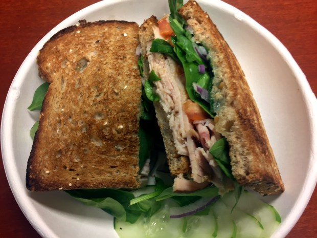 Ferndale Smoked Turkey Sandwich with Brake Bread at Evan's Organic Eatery in the downtown St. Paul skyway, photographed Aug. 3, 2017. (Pioneer Press / Nancy Ngo)