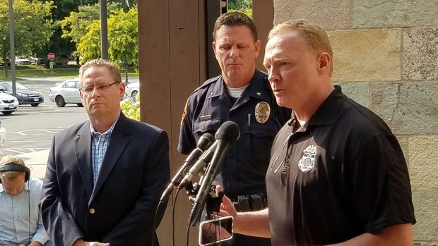 Law enforcement officials brief the media on an apparent attack against Dar Al Farooq Center in Bloomington, Minn.,Saturday, Aug. 5, 2017. (Photo taken from Minneapolis FBI Twitter feed)