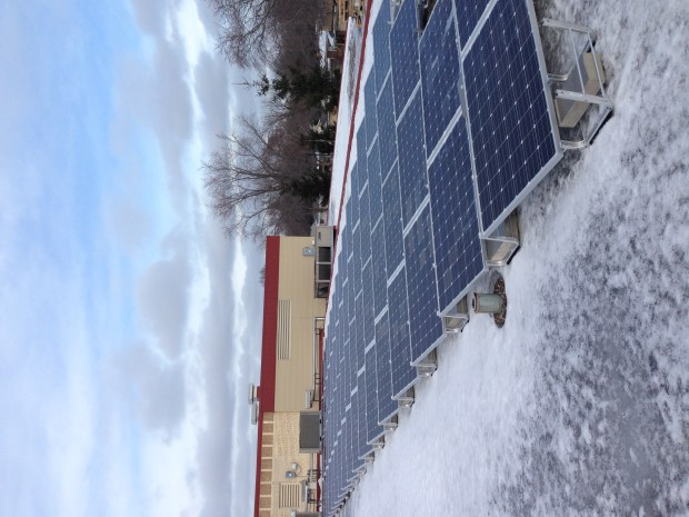Solar panels were installed on the roof of Moreland Arts and Science Magnet elementary school in the winter of 2017. (Courtesy of the West St. Paul-Mendota Heights-Eagan schools)
