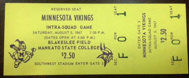 A ticket stub from the Aug. 5, 1967 intra-squad scrimmage at Blakeslee Stadium during Minnesota Vikings football training camp in Mankato, Minn. After 52 years there, 2017 will be the team's last year of holding training camp in Mankato. In 2018, they plan to hold training camp at the team's new facility being built in Eagan. (Courtesy of the University Archives at Minnesota State University, Mankato)