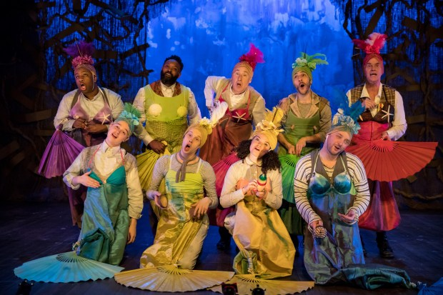 """It's not all torturers and murderers for Craig Johnson (back row, center), who played a mermaid, among other roles, earlier this year in """"Peter and the Starcatcher."""" (Dan Norman/Theater Latte Da)"""