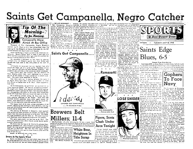 Newspaper story from signing of Roy Campanella with the Saint Paul Saints. (Pioneer Press archives)