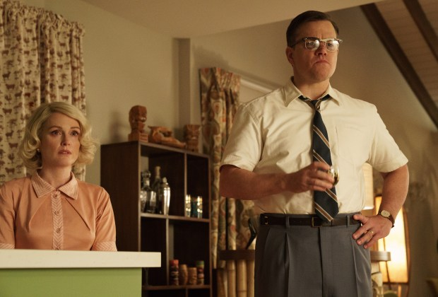 "Julianne Moore and Matt Damon in ""Suburbicon,"" directed by George Clooney from a Joel and Ethan Coen script. (Paramount Pictures)"