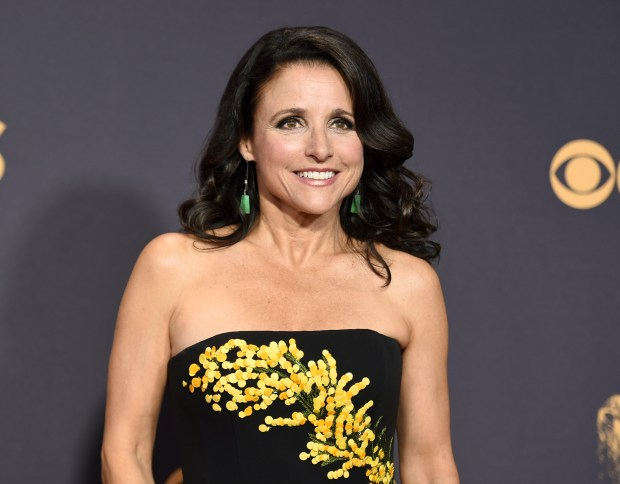 "In this Sept. 17, 2017 photo, Julia Louis-Dreyfus arrives at the 69th Primetime Emmy Awards in Los Angeles. Louis-Dreyfus says she has been diagnosed with breast cancer. The star of ""Veep"" and ""Seinfeld"" posted word of her illness Thursday, Sept. 28, on social media. A spokeswoman for Louis-Dreyfus confirmed the posts were authentic.(Photo by Richard Shotwell/Invision/AP)"