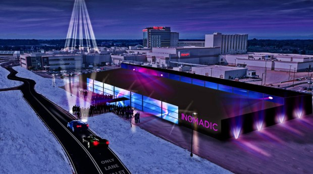 A rendering of Club Nomadic at Mystic Lake, a temporary nightclub that will open at Mystic Lake Casino to coincide with the Super Bowl in February. (Courtesy of Mystic Lake Casino)