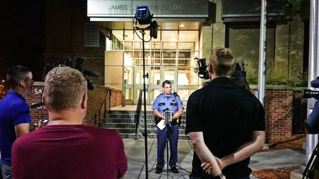 The St. Paul Police Department holds a press conference on Wednesday night to announce the arrest of a St. Catherine University security guard, who shot himself on Tuesday night and blamed it on a nonexistent assailant. (St. Paul Police Department)