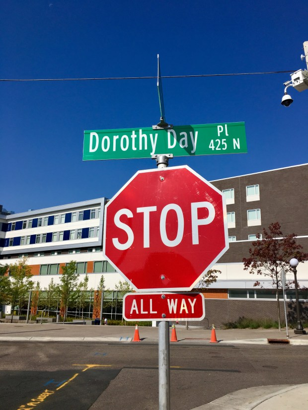 A street downtown has been renamed Dorothy Day. (S. M. Chavey / Pioneer Press)