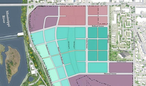 Proposed zoning of the Ford site in St. Paul from a master plan as of August 2017. (Courtesy image)