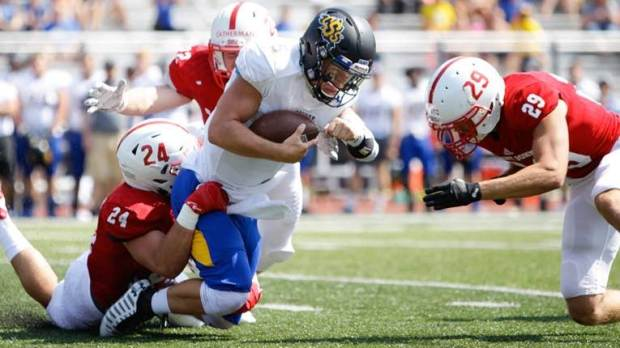 St. John's rolled to a 98-0 non-conference win over St. Scholastica in the 2017 season opener on Saturday, Sept. 2, in Clemens Stadium. SJU out-gained St. Scholastica 560-52, including 337 yards rushing to -7 for the Saints. Thirteen Johnnies scored a touchdown in the game. (Alexus Jungles/St. John's University)