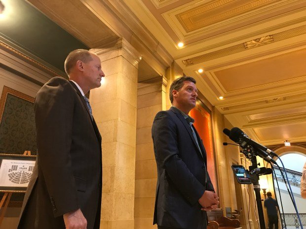Minnesota Senate Majority Leader Paul Gazelka and HouseSpeaker Kurt Daudt react to the break down of mediated talks with Gov. Mark Dayton, Sept. 22, 2017 (Pioneer Press)