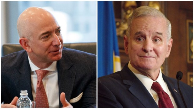 Amazon founder Jeff Bezos, left, and Minnesota Governor Mark Dayton. (AP Photo / Evan Vucci, Don Davis / Forum News Service)