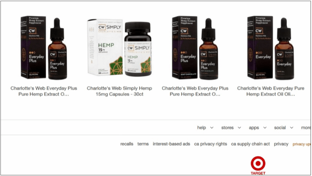 Target.com screenshot showing Charlotte's Web hemp products, Sept. 28. (Pioneer Press)