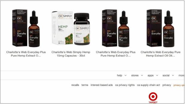 Target.com screenshot showing Charlotte's Web hemp products, Sept. 28. (Pioneer Press)