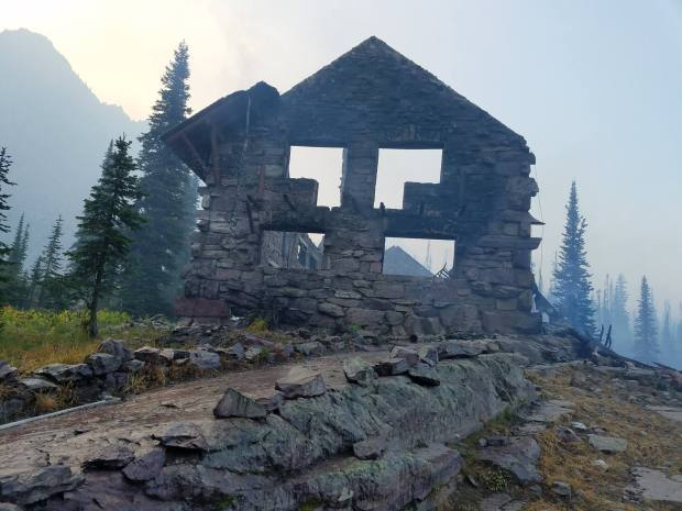 The ruins of the Sperry Chalet in Glacier National Park. (National Park Service image via Facebook)
